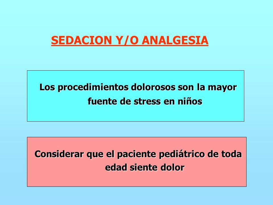 SEDACION Y/O ANALGESIA Los procedimientos dolorosos son la mayor fuente de stress en niños fuente de stress en niños Considerar que el paciente pediátrico de toda edad siente dolor edad siente dolor