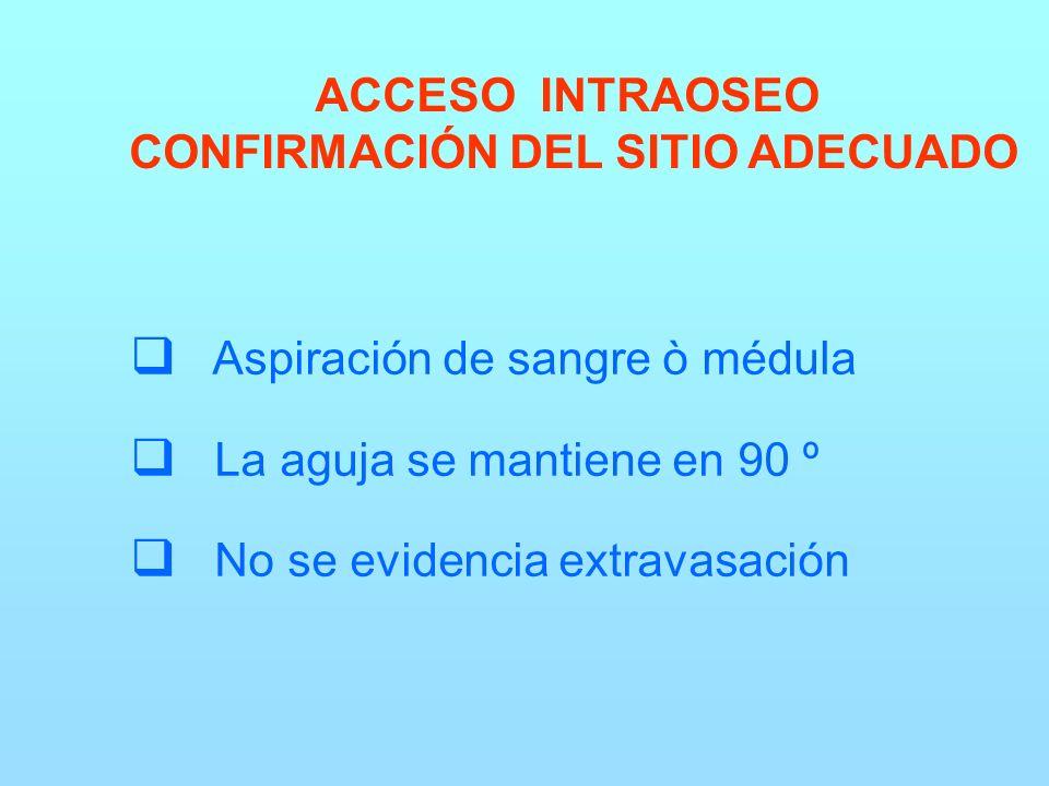 ACCESO INTRAOSEO CONFIRMACIÓN DEL SITIO ADECUADO Aspiración de sangre ò médula La aguja se mantiene en 90 º No se evidencia extravasación