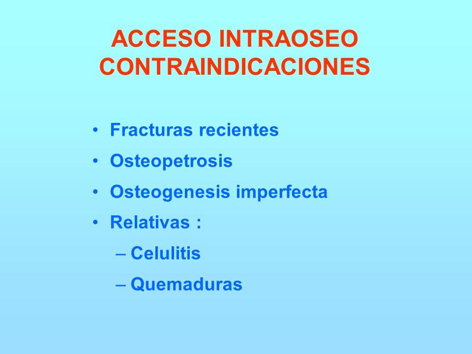 ACCESO INTRAOSEO CONTRAINDICACIONES Fracturas recientes Osteopetrosis Osteogenesis imperfecta Relativas : –Celulitis –Quemaduras