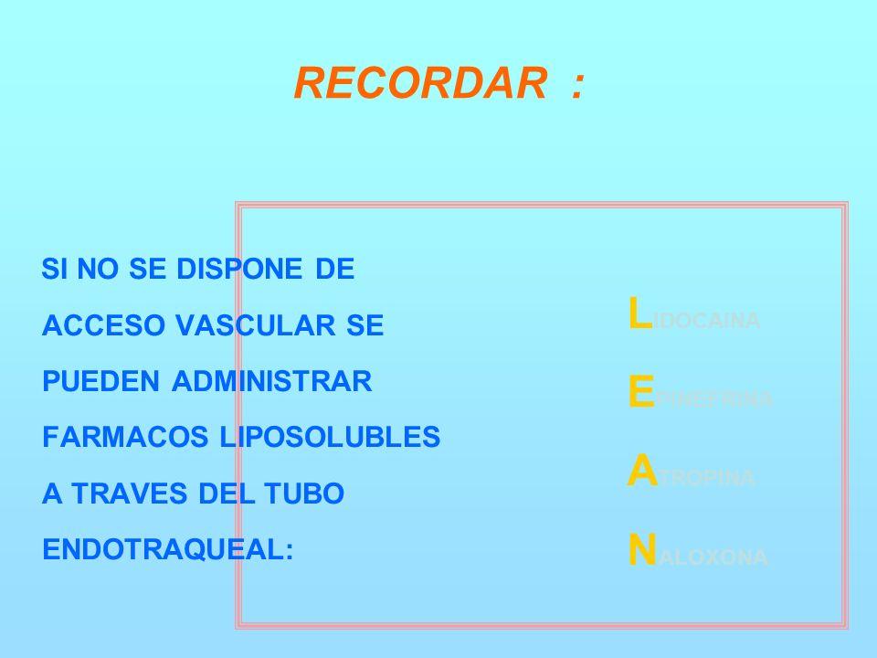 RECORDAR : SI NO SE DISPONE DE ACCESO VASCULAR SE PUEDEN ADMINISTRAR FARMACOS LIPOSOLUBLES A TRAVES DEL TUBO ENDOTRAQUEAL: L IDOCAINA E PINEFRINA A TROPINA N ALOXONA