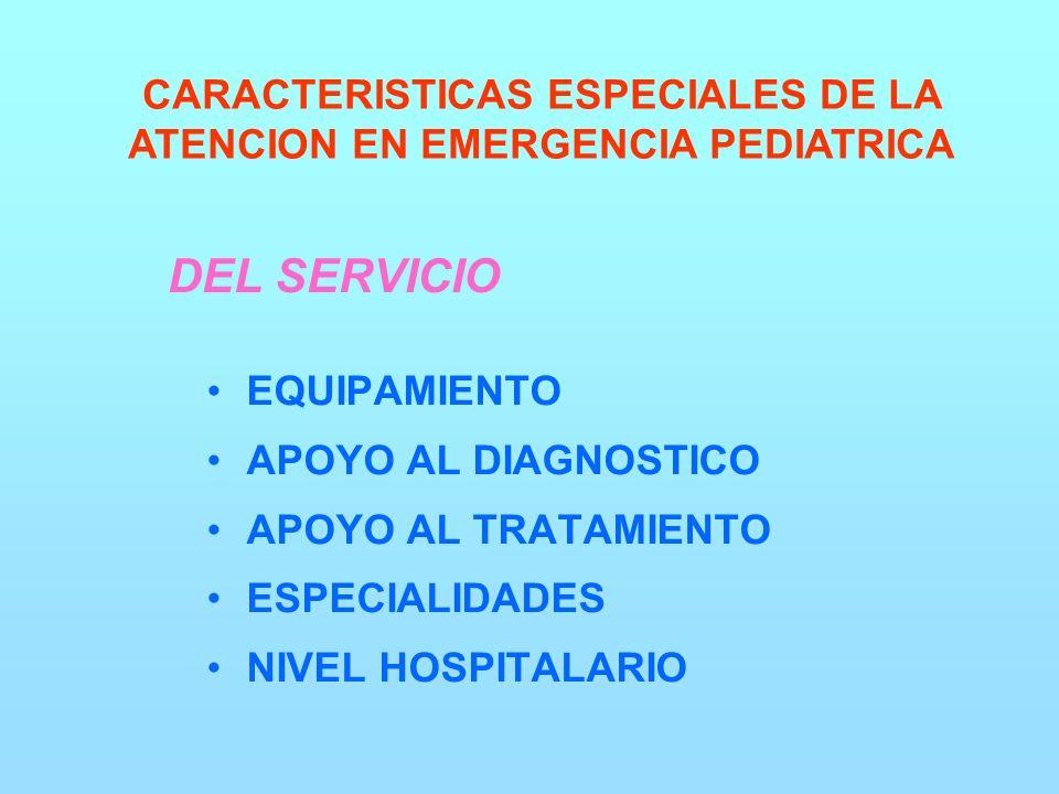 DEL SERVICIO EQUIPAMIENTO APOYO AL DIAGNOSTICO APOYO AL TRATAMIENTO ESPECIALIDADES NIVEL HOSPITALARIO CARACTERISTICAS ESPECIALES DE LA ATENCION EN EMERGENCIA PEDIATRICA