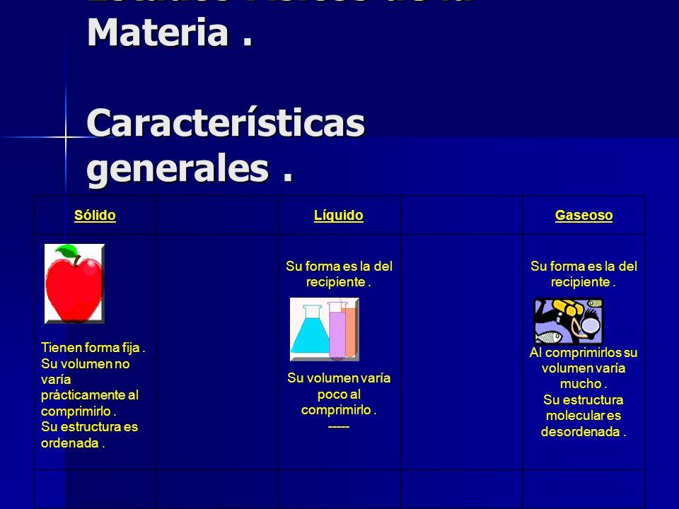Estados Físicos de la Materia. Características generales. Estados Físicos de la Materia. Características generales. SólidoLíquidoGaseoso Tienen forma