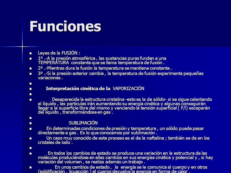 Funciones Leyes de la FUSIÓN : Leyes de la FUSIÓN : 1ª.-A la presión atmosférica, las sustancias puras funden a una TEMPERATURA constante que se llama