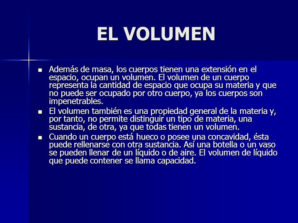 EL VOLUMEN EL VOLUMEN Además de masa, los cuerpos tienen una extensión en el espacio, ocupan un volumen. El volumen de un cuerpo representa la cantida