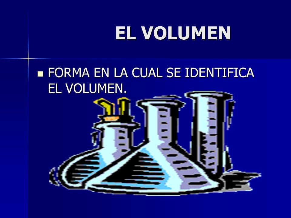 EL VOLUMEN EL VOLUMEN FORMA EN LA CUAL SE IDENTIFICA EL VOLUMEN. FORMA EN LA CUAL SE IDENTIFICA EL VOLUMEN.