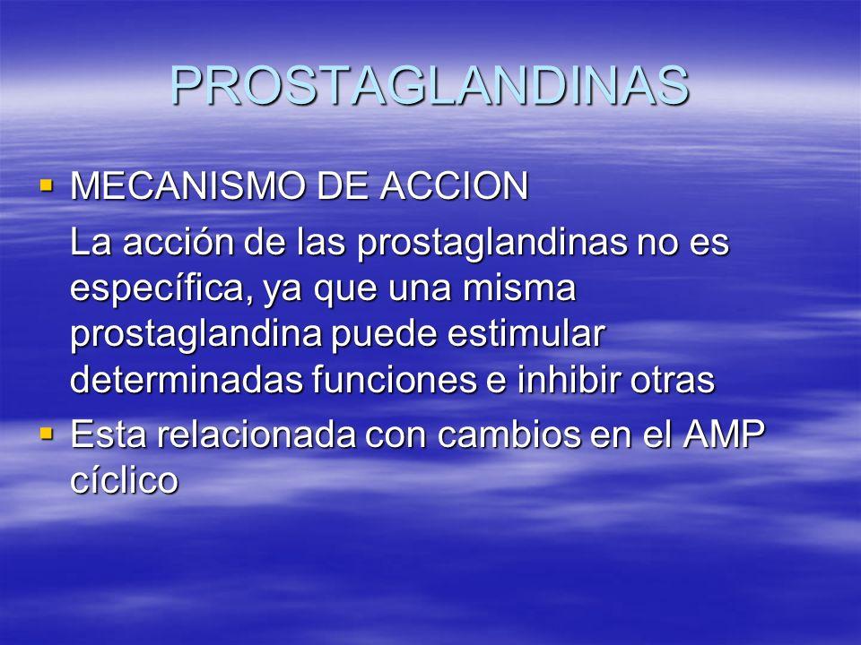 MECANISMO DE ACCION MECANISMO DE ACCION La acción de las prostaglandinas no es específica, ya que una misma prostaglandina puede estimular determinada