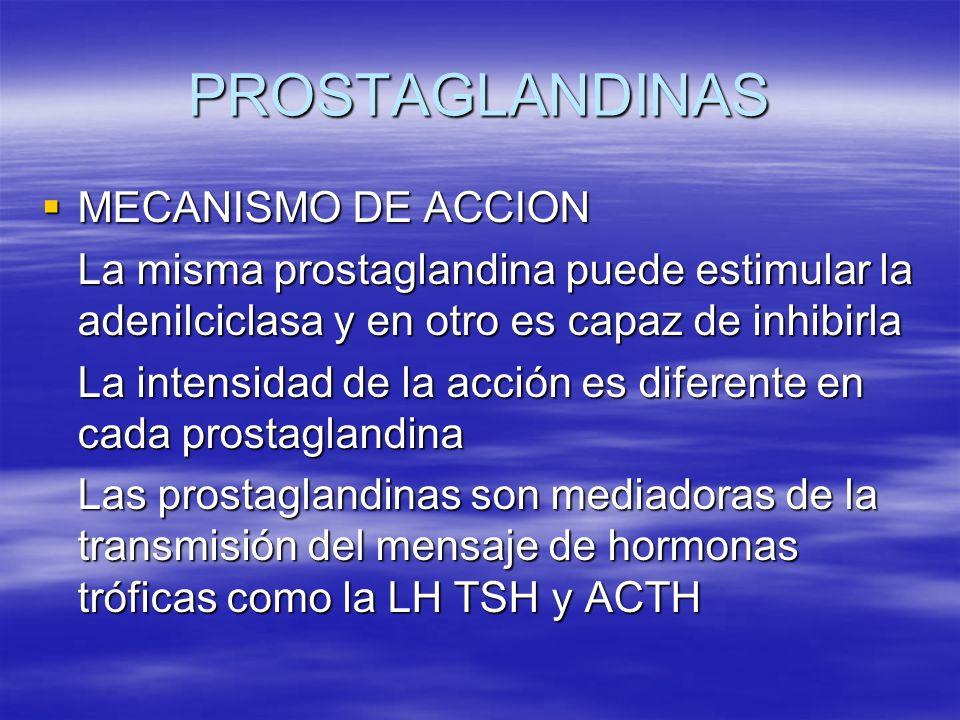 PROSTAGLANDINAS MECANISMO DE ACCION MECANISMO DE ACCION La misma prostaglandina puede estimular la adenilciclasa y en otro es capaz de inhibirla La in