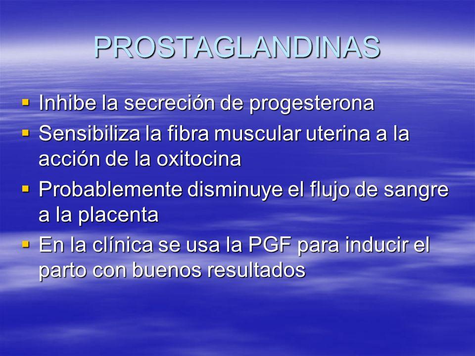 PROSTAGLANDINAS Inhibe la secreción de progesterona Inhibe la secreción de progesterona Sensibiliza la fibra muscular uterina a la acción de la oxitoc