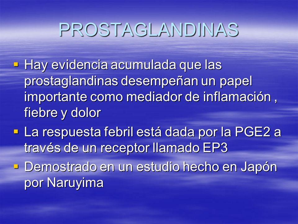 PROSTAGLANDINAS Hay evidencia acumulada que las prostaglandinas desempeñan un papel importante como mediador de inflamación, fiebre y dolor Hay eviden