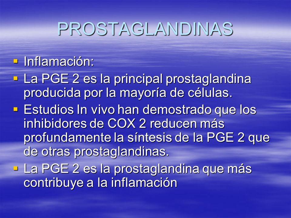 PROSTAGLANDINAS Inflamación: Inflamación: La PGE 2 es la principal prostaglandina producida por la mayoría de células. La PGE 2 es la principal prosta