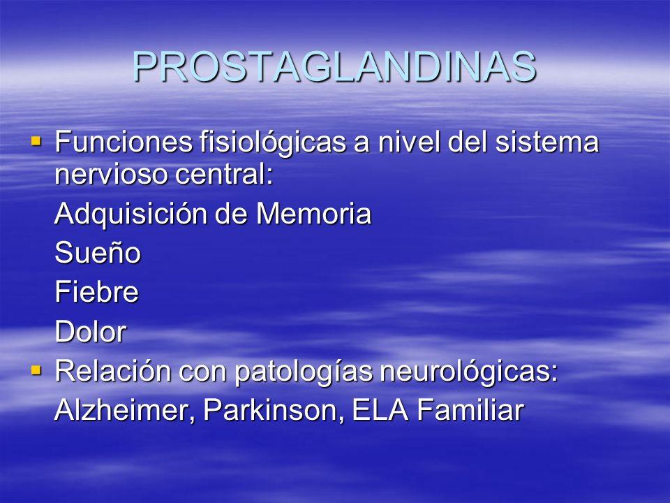 PROSTAGLANDINAS Funciones fisiológicas a nivel del sistema nervioso central: Funciones fisiológicas a nivel del sistema nervioso central: Adquisición