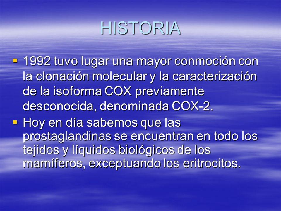 HISTORIA 1992 tuvo lugar una mayor conmoción con la clonación molecular y la caracterización de la isoforma COX previamente desconocida, denominada CO