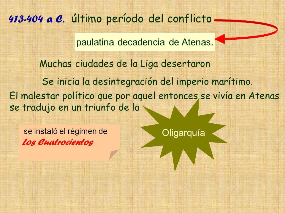 Muchas ciudades de la Liga desertaron 413-404 a C. último período del conflicto El malestar político que por aquel entonces se vivía en Atenas se trad
