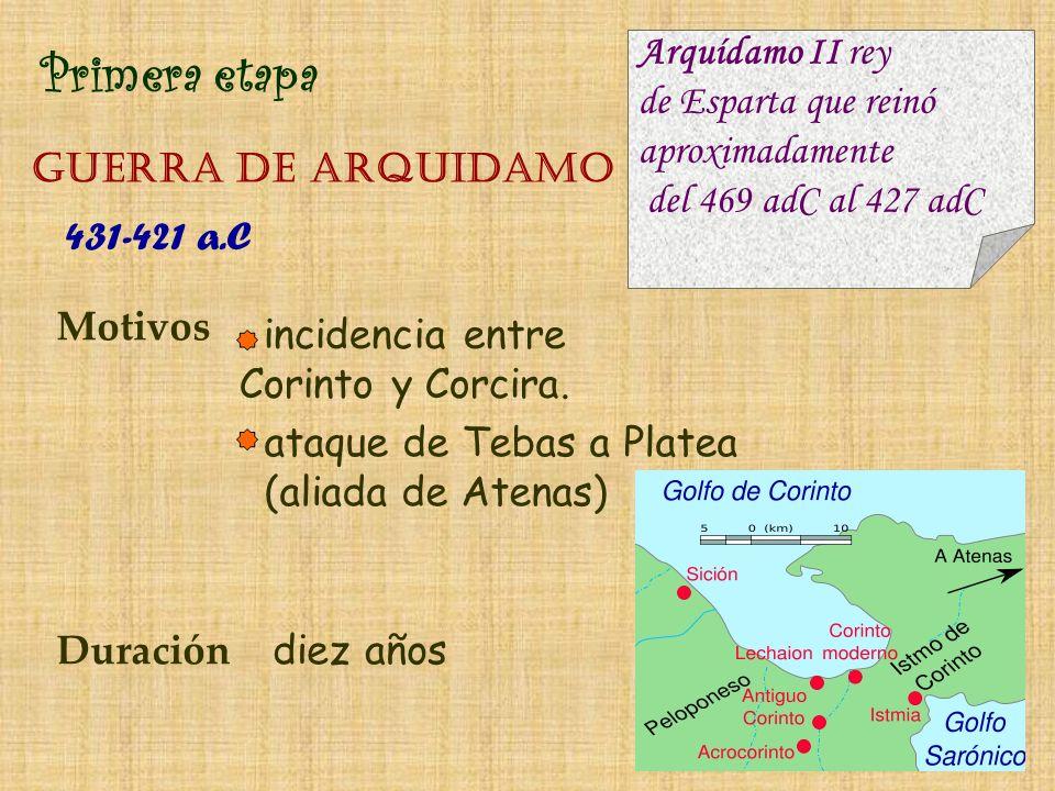 Primera etapa GUERRA DE aRQUIDAMO Motivos incidencia entre Corinto y Corcira. Duración diez años Arquídamo II rey de Esparta que reinó aproximadamente