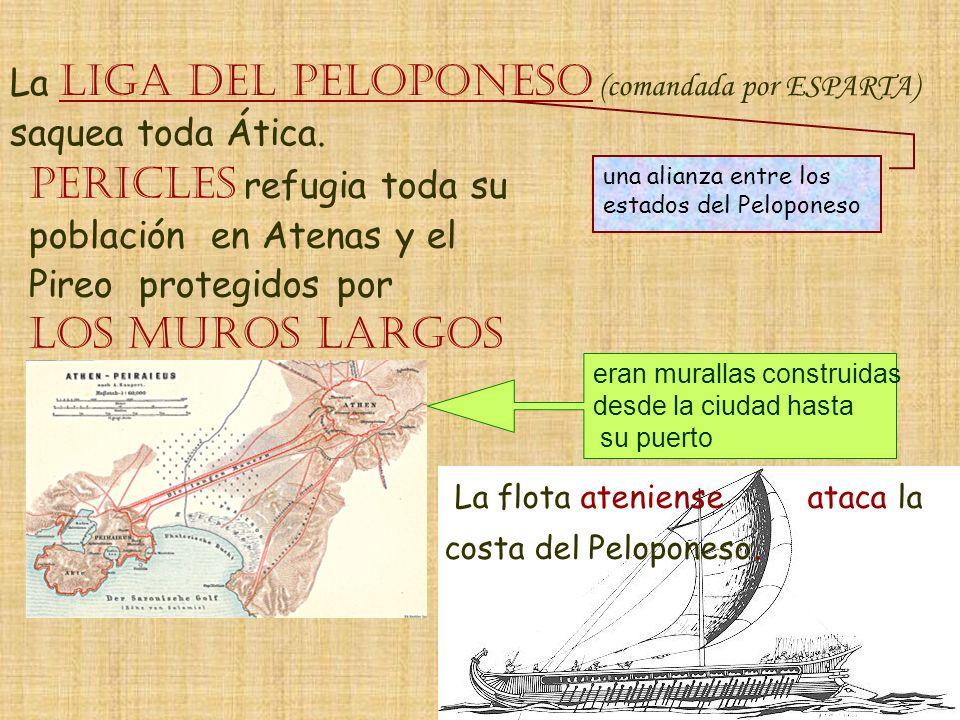La LIGA DEL PELOPONESO (comandada por ESPARTA) saquea toda Ática. una alianza entre los estados del Peloponeso PERICLES refugia toda su población en A