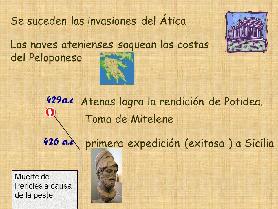 Se suceden las invasiones del Ática Las naves atenienses saquean las costas del Peloponeso 429a.c Atenas logra la rendición de Potidea. Toma de Mitele