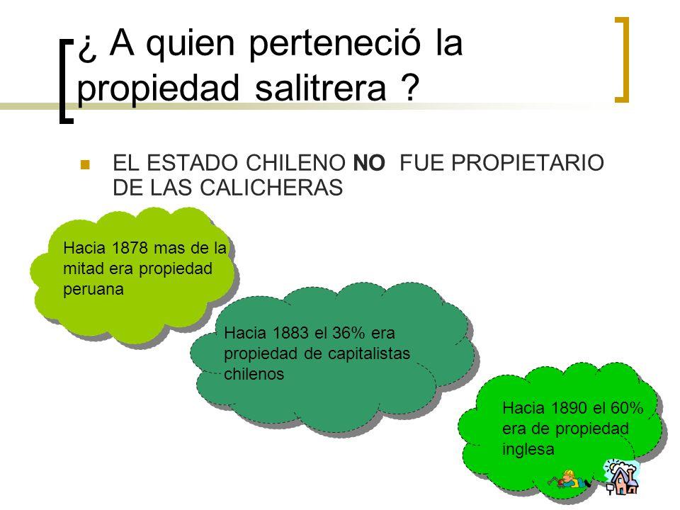 ¿ A quien perteneció la propiedad salitrera ? EL ESTADO CHILENO NO FUE PROPIETARIO DE LAS CALICHERAS Hacia 1878 mas de la mitad era propiedad peruana