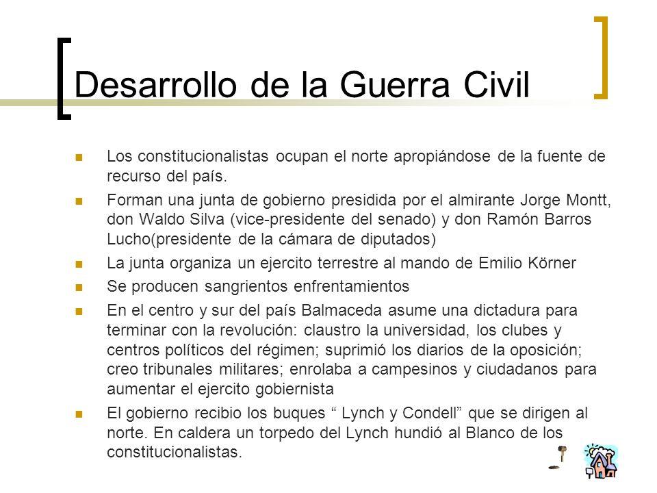 Desarrollo de la Guerra Civil Los constitucionalistas ocupan el norte apropiándose de la fuente de recurso del país. Forman una junta de gobierno pres
