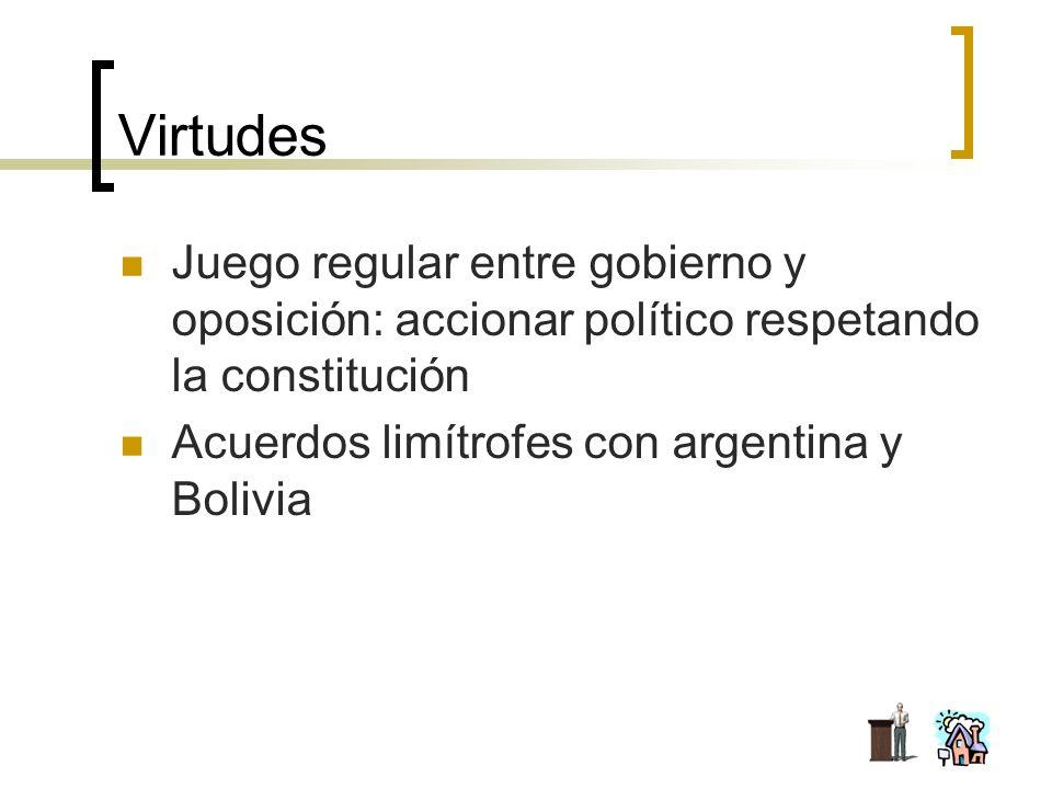 Virtudes Juego regular entre gobierno y oposición: accionar político respetando la constitución Acuerdos limítrofes con argentina y Bolivia