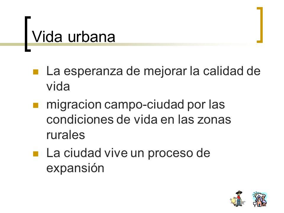 Vida urbana La esperanza de mejorar la calidad de vida migracion campo-ciudad por las condiciones de vida en las zonas rurales La ciudad vive un proce