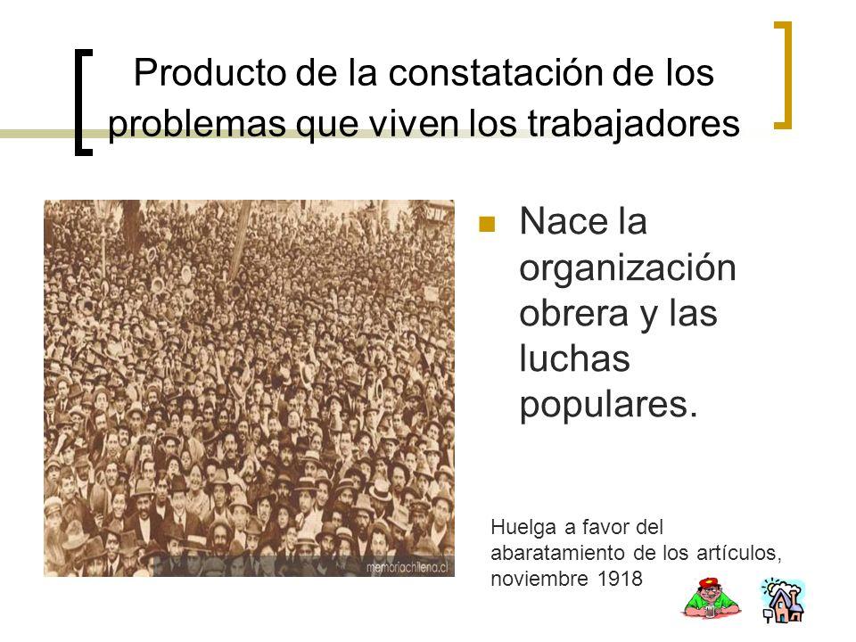 Producto de la constatación de los problemas que viven los trabajadores Nace la organización obrera y las luchas populares. Huelga a favor del abarata
