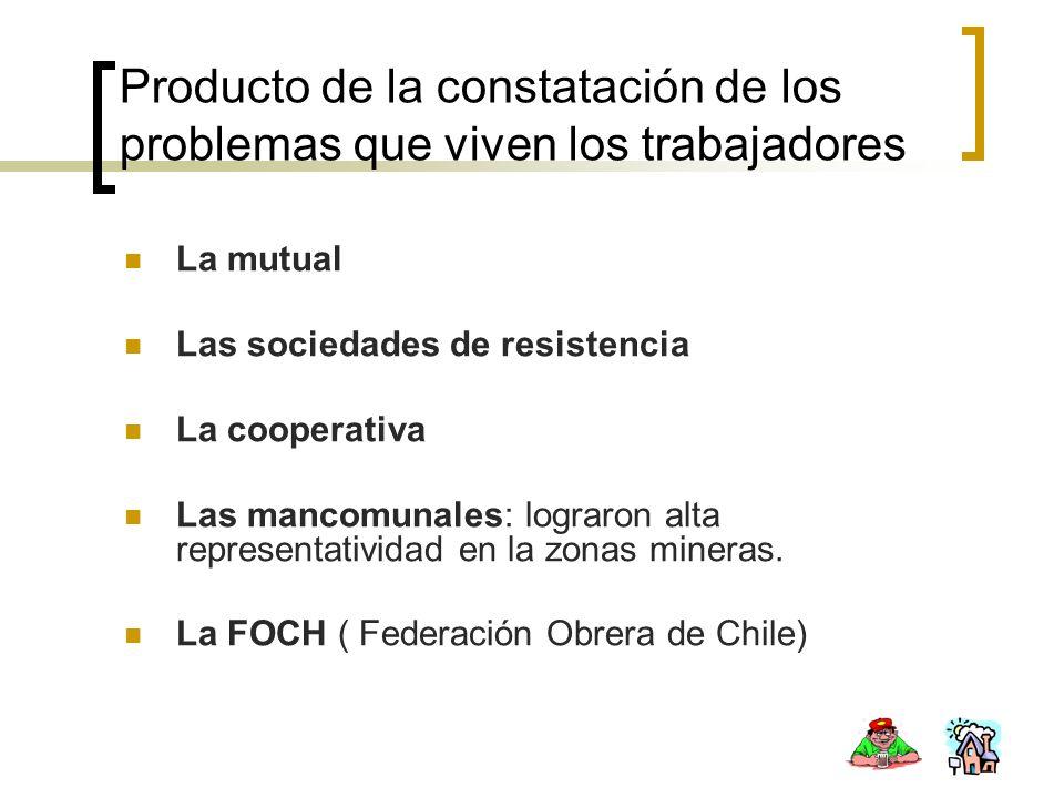 Producto de la constatación de los problemas que viven los trabajadores La mutual Las sociedades de resistencia La cooperativa Las mancomunales: logra