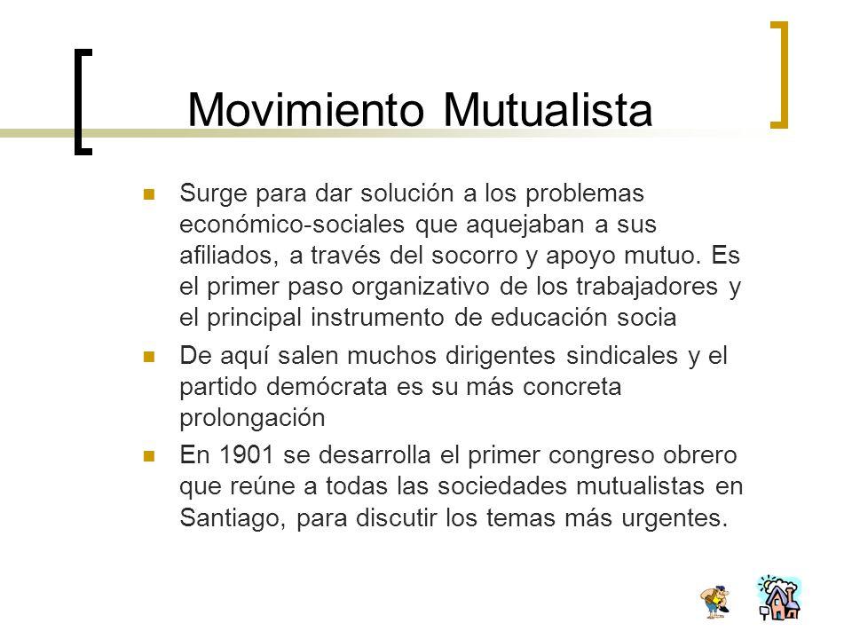 Movimiento Mutualista Surge para dar solución a los problemas económico-sociales que aquejaban a sus afiliados, a través del socorro y apoyo mutuo. Es