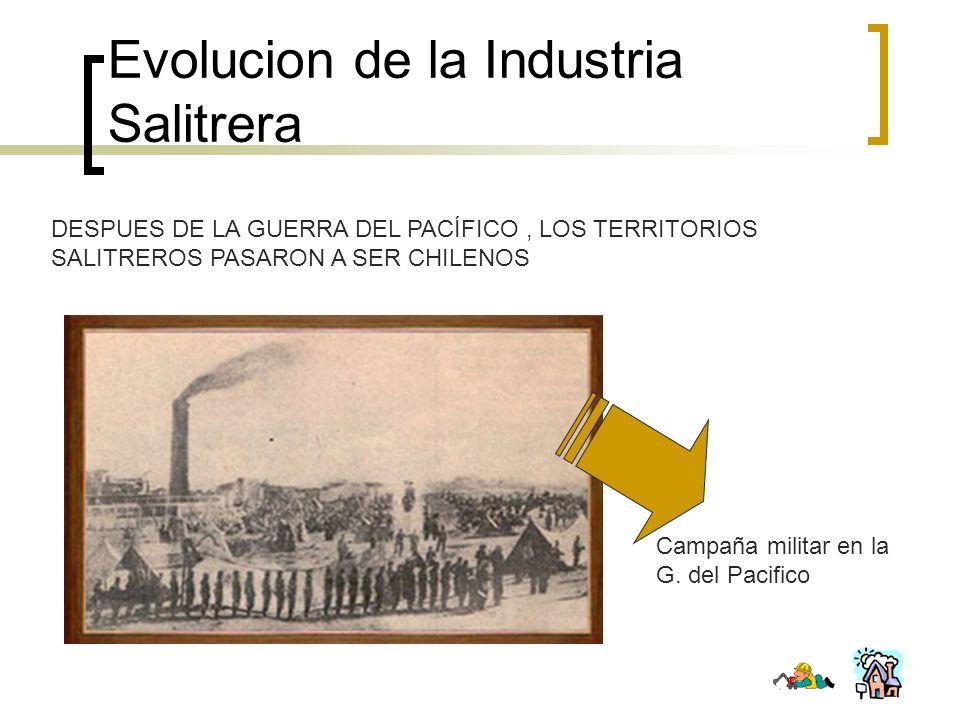 Evolucion de la Industria Salitrera DESPUES DE LA GUERRA DEL PACÍFICO, LOS TERRITORIOS SALITREROS PASARON A SER CHILENOS Campaña militar en la G. del