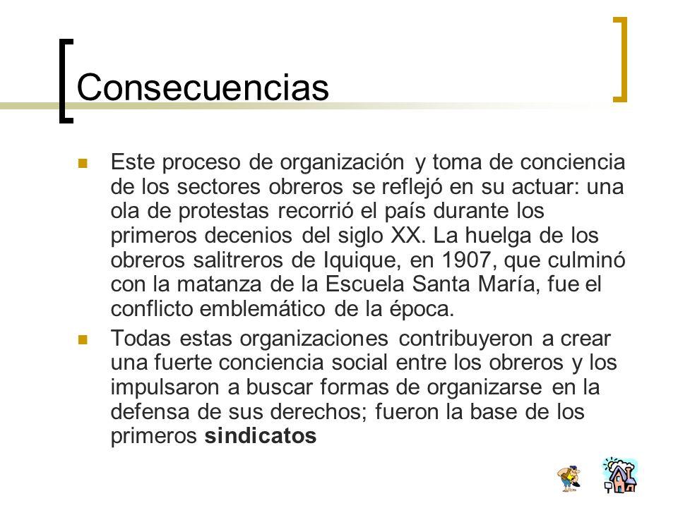 Consecuencias Este proceso de organización y toma de conciencia de los sectores obreros se reflejó en su actuar: una ola de protestas recorrió el país
