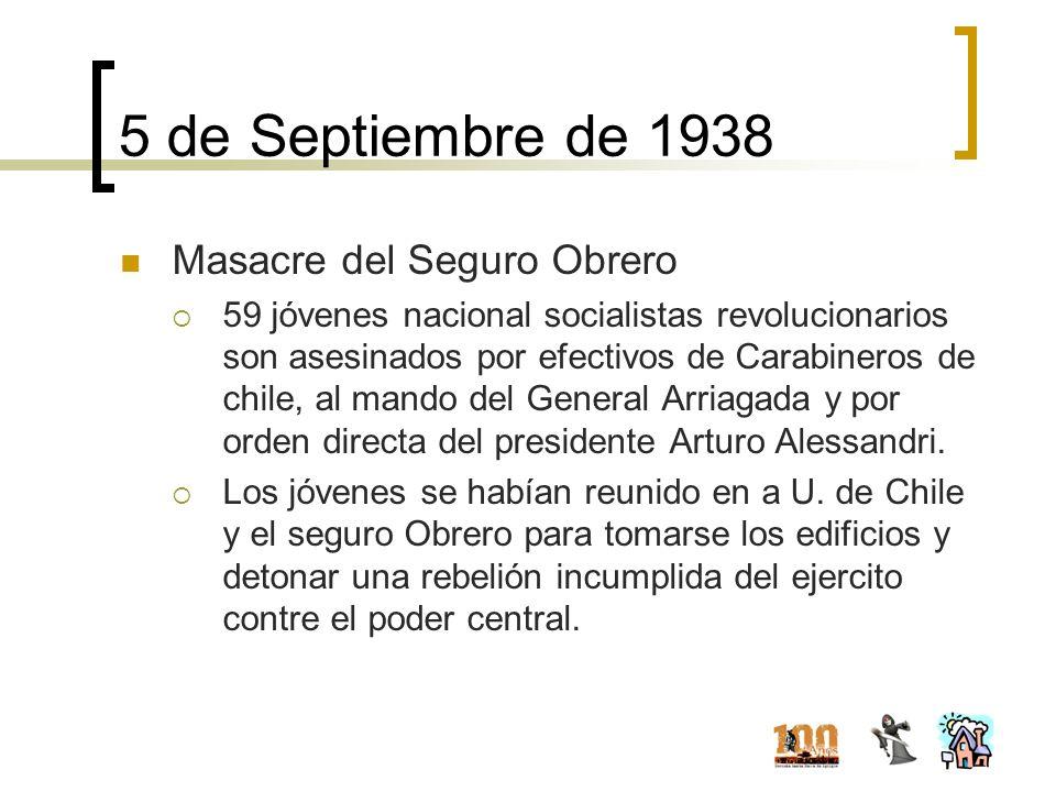 5 de Septiembre de 1938 Masacre del Seguro Obrero 59 jóvenes nacional socialistas revolucionarios son asesinados por efectivos de Carabineros de chile