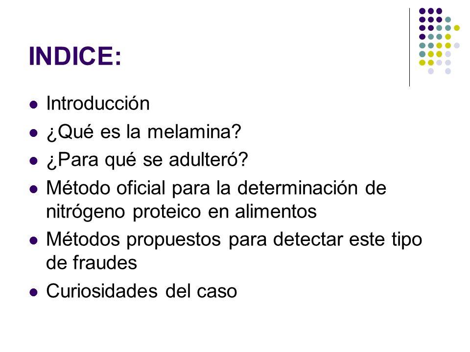 INDICE: Introducción ¿Qué es la melamina? ¿Para qué se adulteró? Método oficial para la determinación de nitrógeno proteico en alimentos Métodos propu