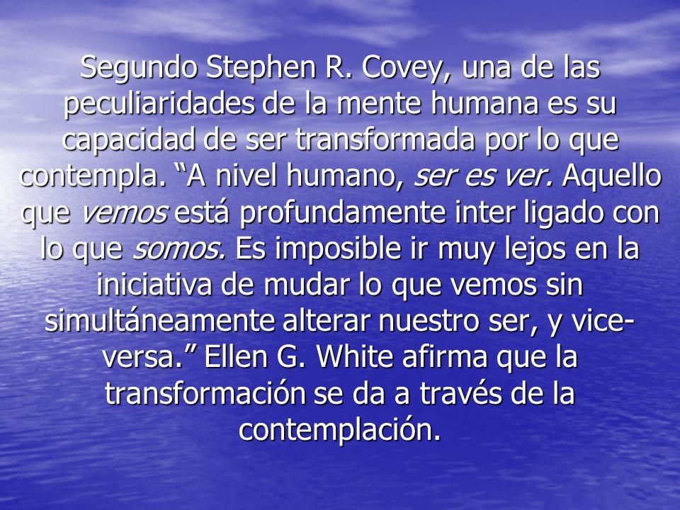 Segundo Stephen R. Covey, una de las peculiaridades de la mente humana es su capacidad de ser transformada por lo que contempla. A nivel humano, ser e