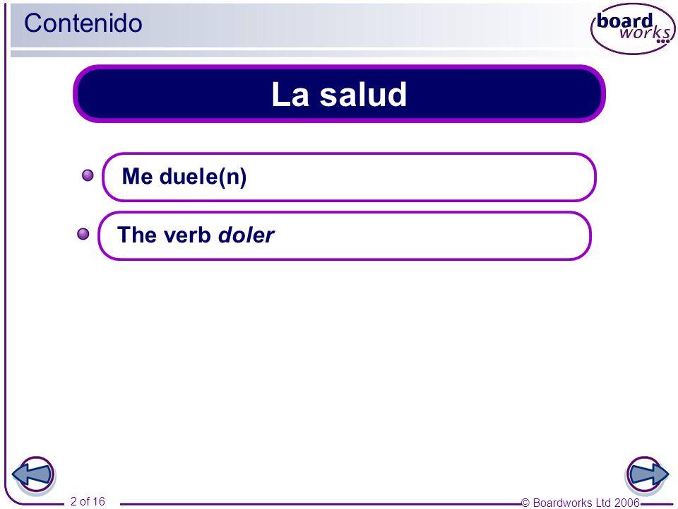 © Boardworks Ltd 2006 2 of 16 La salud Contenido Me duele(n) The verb doler