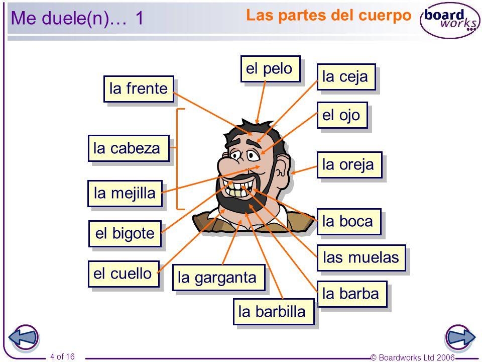 © Boardworks Ltd 2006 5 of 16 el ojo el pelo la ceja la boca la barbilla las muelas la frente la oreja la mejilla la cabeza el cuello la garganta B B A A C C D D E E I I J J K K L L B B A A C C D D E E H H G G F F I I J J K K L L Me duele(n)… 2 Las partes del cuerpo H H G G F F