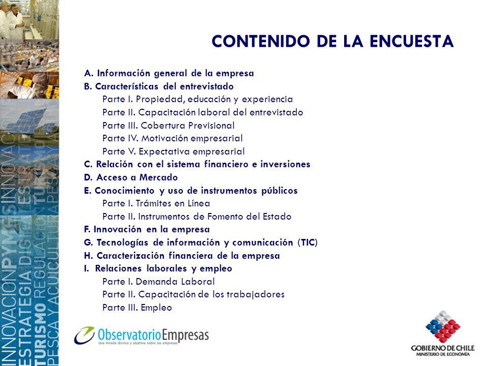 CONTENIDO DE LA ENCUESTA A. Información general de la empresa B. Características del entrevistado Parte I. Propiedad, educación y experiencia Parte II