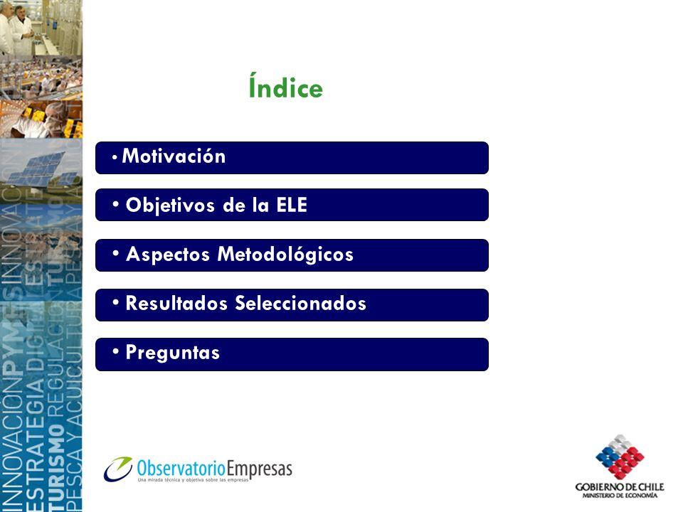 Índice Motivación Objetivos de la ELE Aspectos Metodológicos Resultados Seleccionados Preguntas