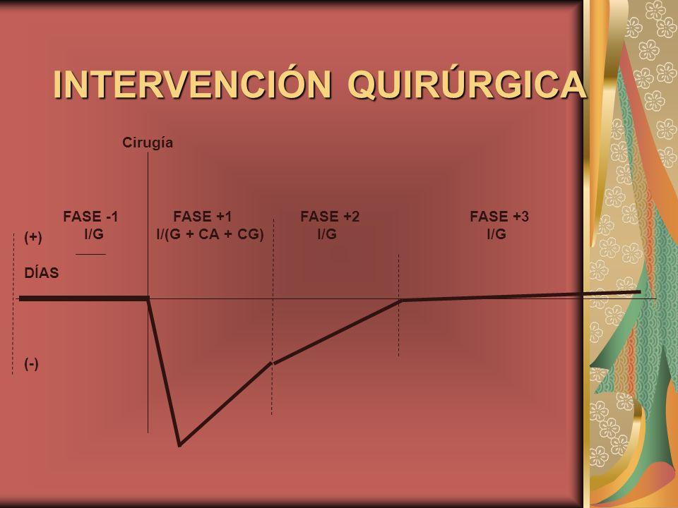 INTERVENCIÓN QUIRÚRGICA Cirugía (+) DÍAS (-) FASE -1 FASE +1 FASE +2FASE +3 I/G I/(G + CA + CG) I/G I/G
