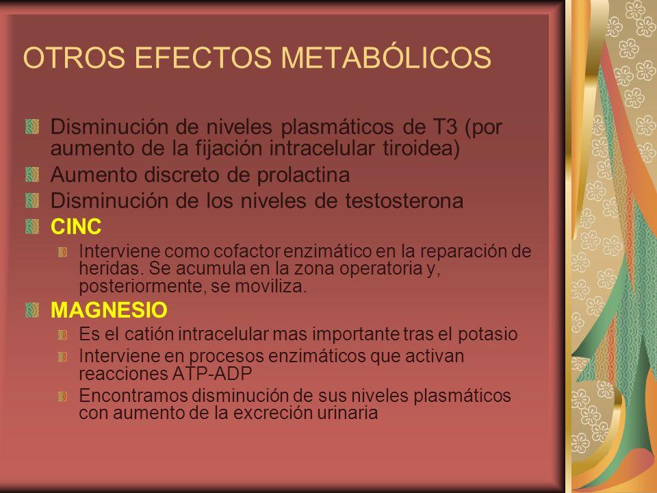 OTROS EFECTOS METABÓLICOS Disminución de niveles plasmáticos de T3 (por aumento de la fijación intracelular tiroidea) Aumento discreto de prolactina D