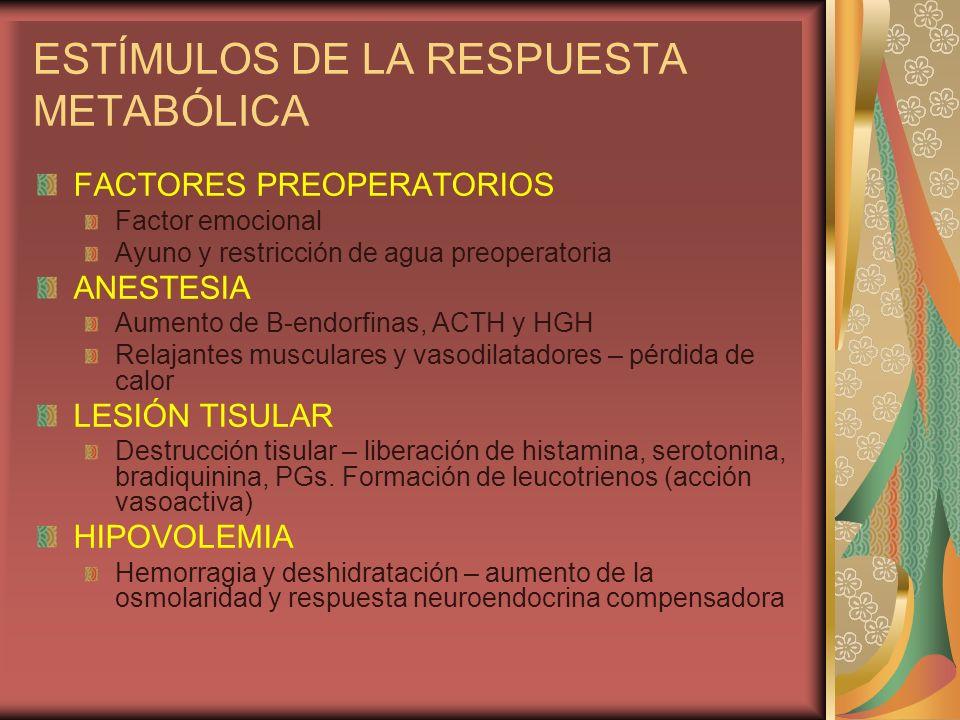 ESTÍMULOS DE LA RESPUESTA METABÓLICA ESTÍMULOS NERVIOSOS Reflejo autónomo: estímulos somáticos y viscerales – reflejo medular autonómico – estimulación simpática del asta lateral Liberación de catecolaminas en las terminaciones nerviosas y la médula suprarrenal Estímulo ascendente Estimulación hipotalámica: Desde áreas corticales (estimulación hipotalámica directa) Por el dolor visceral (fibras vagales ascendentes) Estímulos dolorosos y viscerales – tálamo – hipotálamo Sistema reticular activador ascendente Fibras de conexión entre los núcleos hipotalámicos