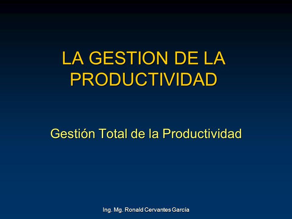 Ing. Mg. Ronald Cervantes García LA GESTION DE LA PRODUCTIVIDAD Gestión Total de la Productividad