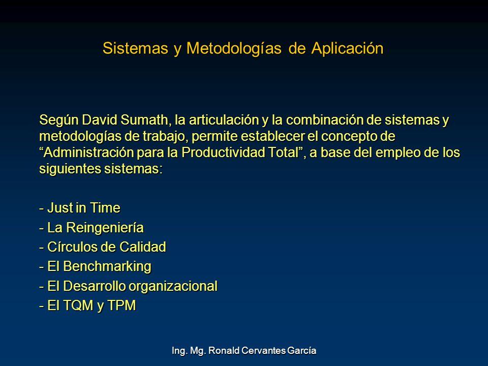 Ing. Mg. Ronald Cervantes García Sistemas y Metodologías de Aplicación Según David Sumath, la articulación y la combinación de sistemas y metodologías