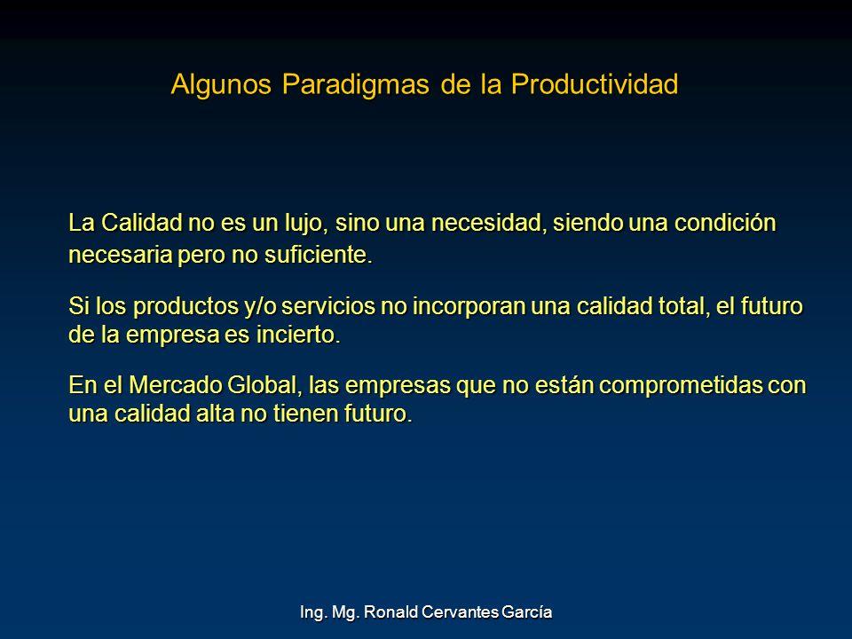 Ing. Mg. Ronald Cervantes García Algunos Paradigmas de la Productividad La Calidad no es un lujo, sino una necesidad, siendo una condición necesaria p