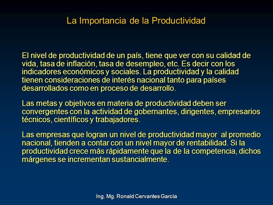 Ing. Mg. Ronald Cervantes García La Importancia de la Productividad El nivel de productividad de un país, tiene que ver con su calidad de vida, tasa d