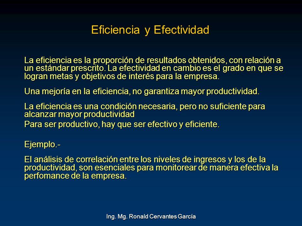 Ing. Mg. Ronald Cervantes García Eficiencia y Efectividad La eficiencia es la proporción de resultados obtenidos, con relación a un estándar prescrito