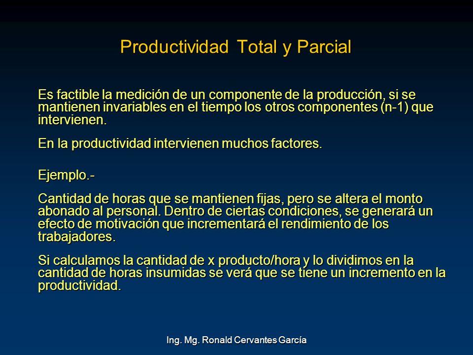 Ing. Mg. Ronald Cervantes García Productividad Total y Parcial Es factible la medición de un componente de la producción, si se mantienen invariables