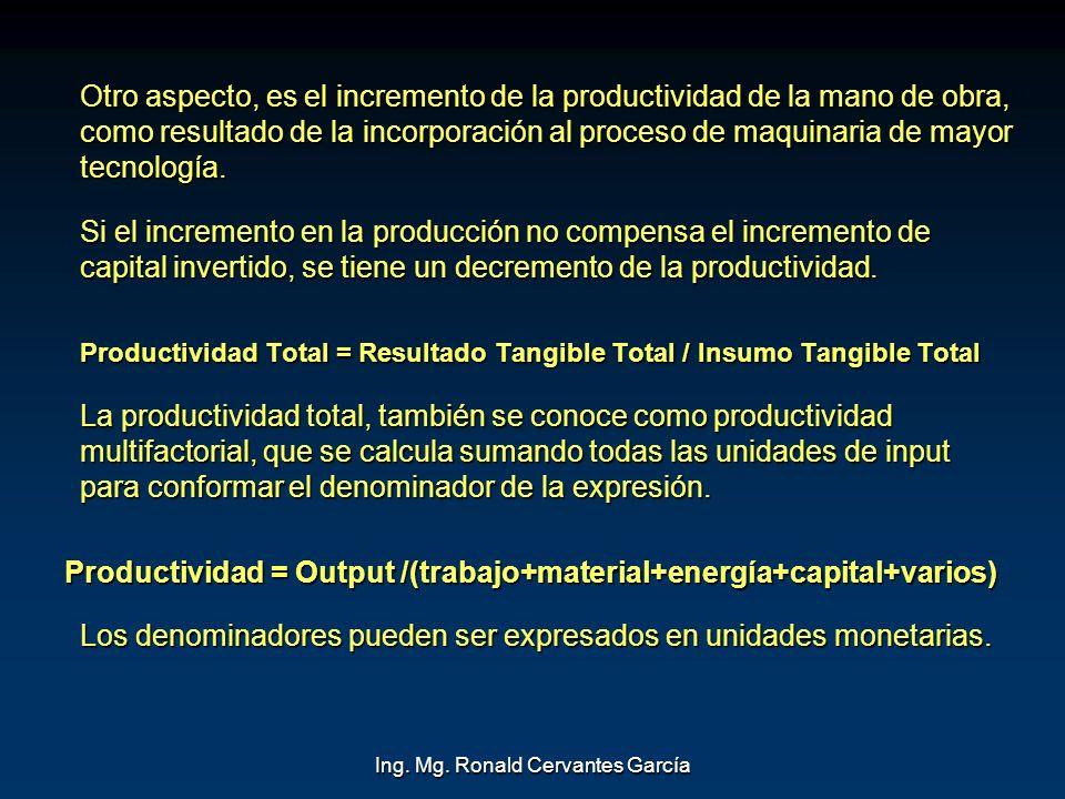 Ing. Mg. Ronald Cervantes García Otro aspecto, es el incremento de la productividad de la mano de obra, como resultado de la incorporación al proceso