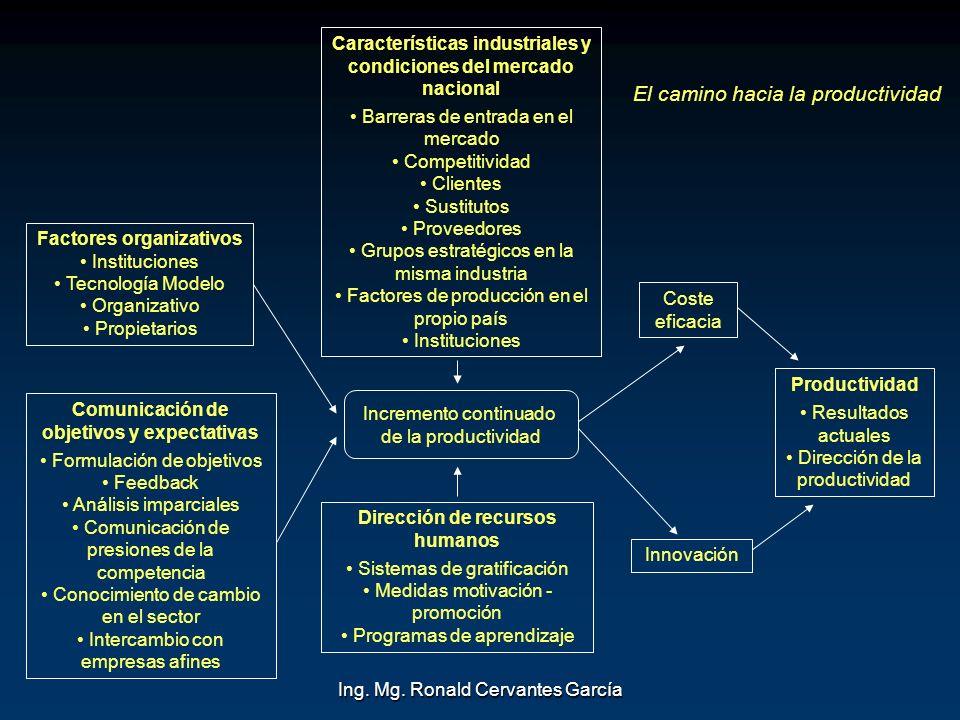 Ing. Mg. Ronald Cervantes García Factores organizativos Instituciones Tecnología Modelo Organizativo Propietarios Comunicación de objetivos y expectat