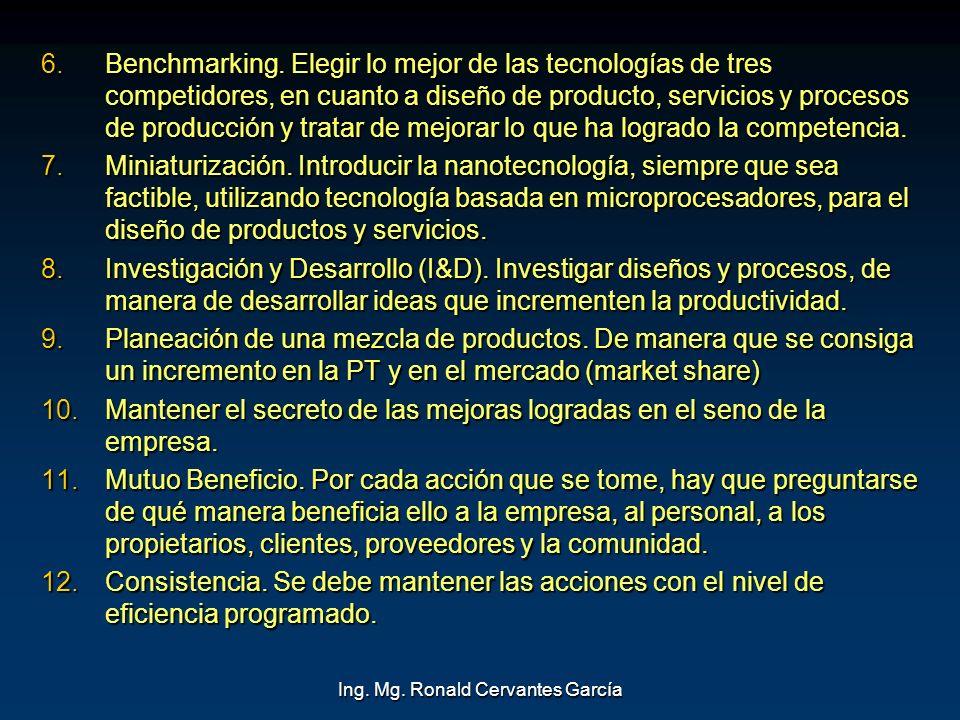 Ing. Mg. Ronald Cervantes García 6. Benchmarking. Elegir lo mejor de las tecnologías de tres competidores, en cuanto a diseño de producto, servicios y