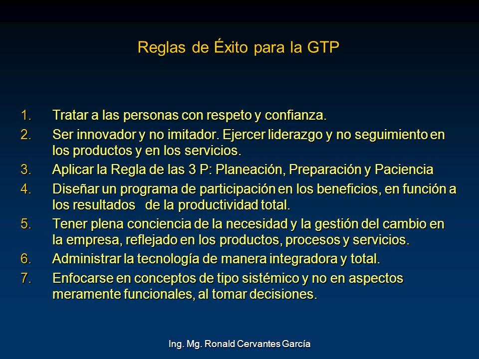 Ing. Mg. Ronald Cervantes García Reglas de Éxito para la GTP 1.Tratar a las personas con respeto y confianza. 2.Ser innovador y no imitador. Ejercer l