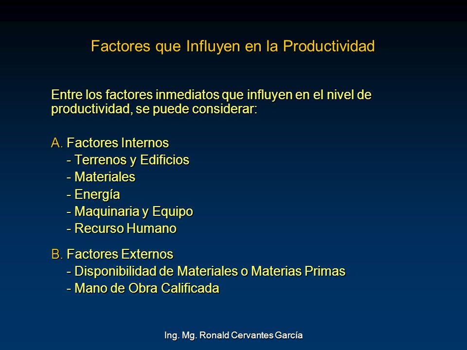 Ing. Mg. Ronald Cervantes García Factores que Influyen en la Productividad Entre los factores inmediatos que influyen en el nivel de productividad, se